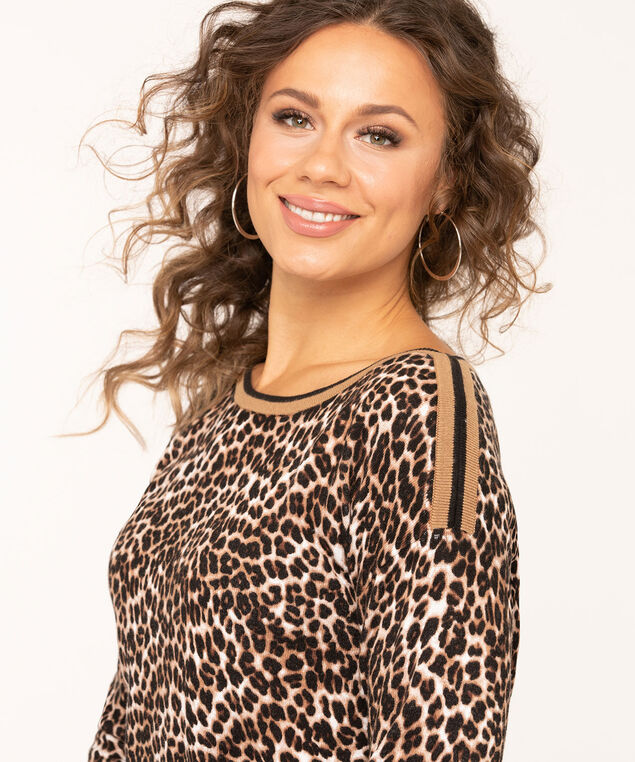 Leopard Print Boat Neck Sweater, Camel/Ivory/Black, hi-res