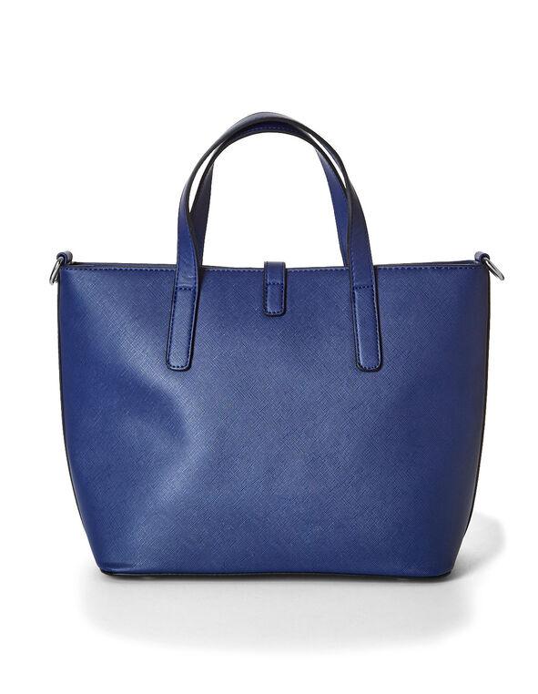 Blue Structured Handbag, Blue, hi-res