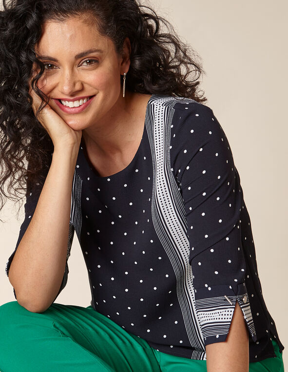 Navy Polka Dot Print Blouse, Navy, hi-res