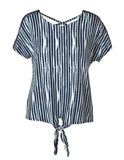 Blue Striped Crochet Sleeve Top, Blue, hi-res