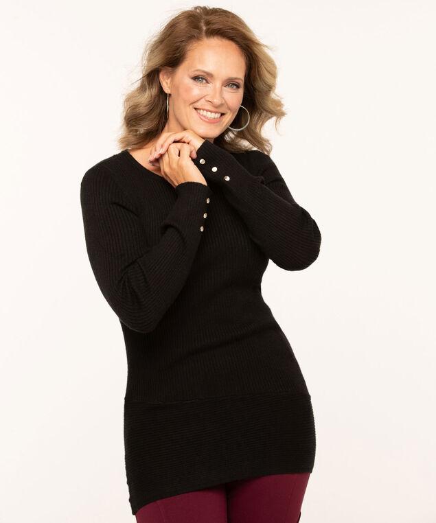 Button Trim Tunic Sweater, Black, hi-res