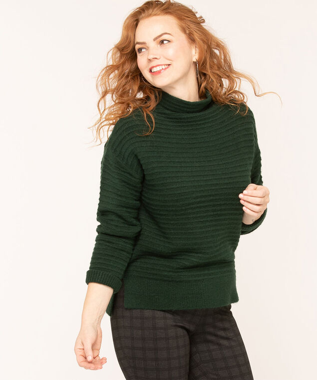 Ottoman Rib Mock Neck Sweater, Dk Green