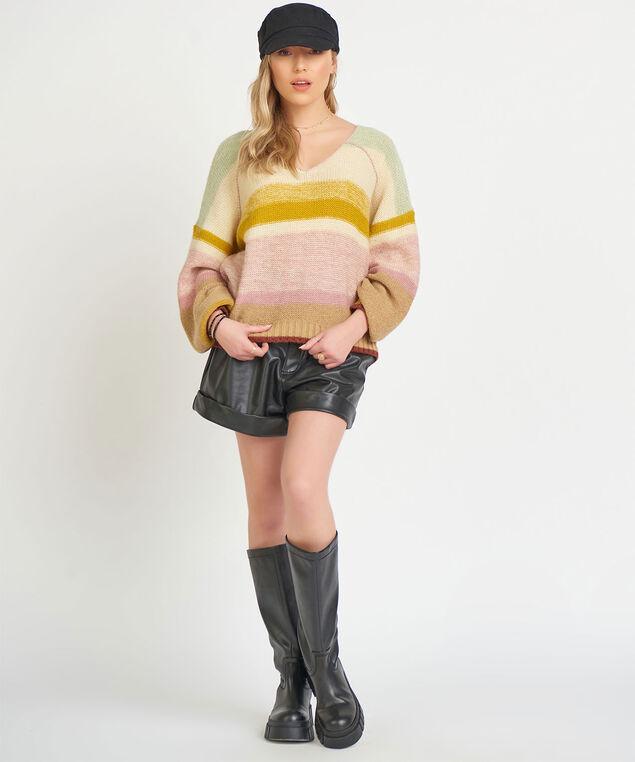 Dex Multicolour V-Neck Sweater, Mint/Yellow/Pink