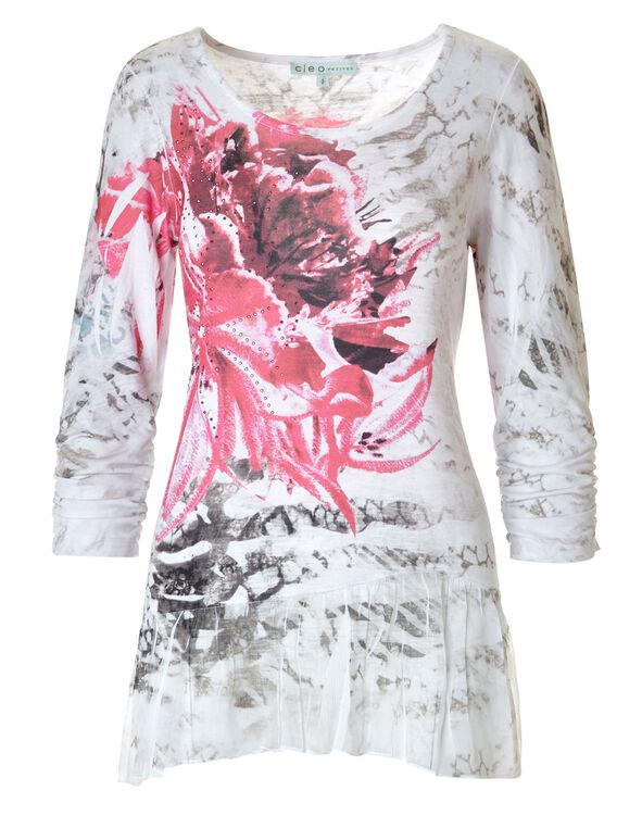 Rose Embellished Tunic, Rose/White, hi-res
