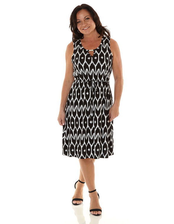 Black Patterned Tie Waist Dress, Black/White, hi-res