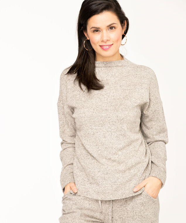 Funnel Neck Lightweight Knit Top, Light Grey Mix