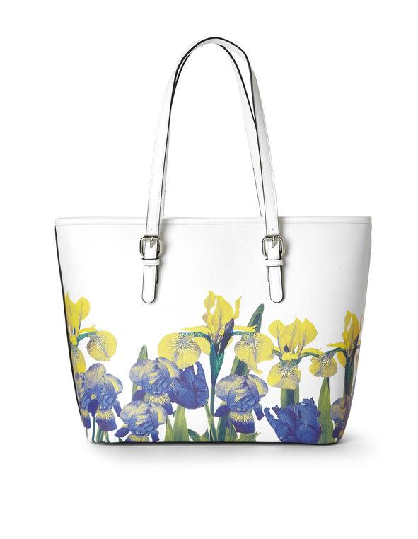 White Iris Floral Printed Tote, White/Yellow, hi-res
