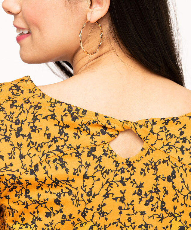 Twisted Keyhole Back Raglan Tee, Gold Floral