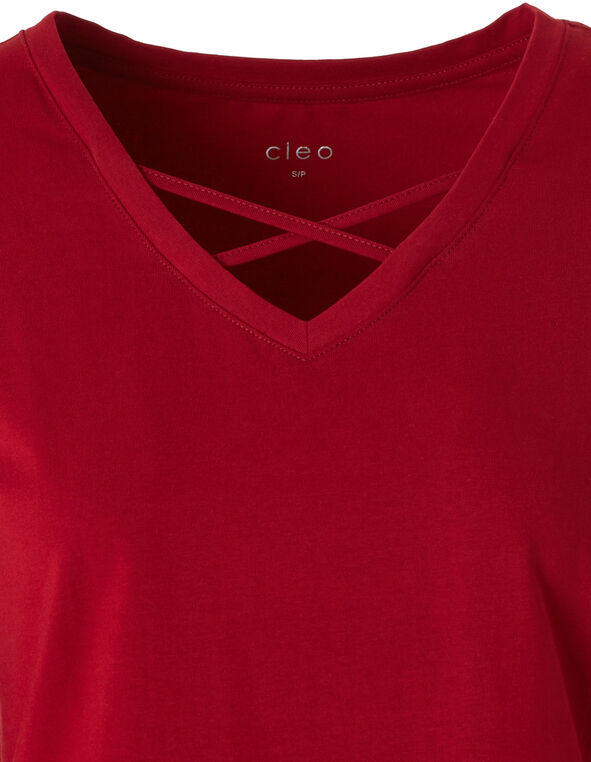 Red Crisscross Tee, Red, hi-res
