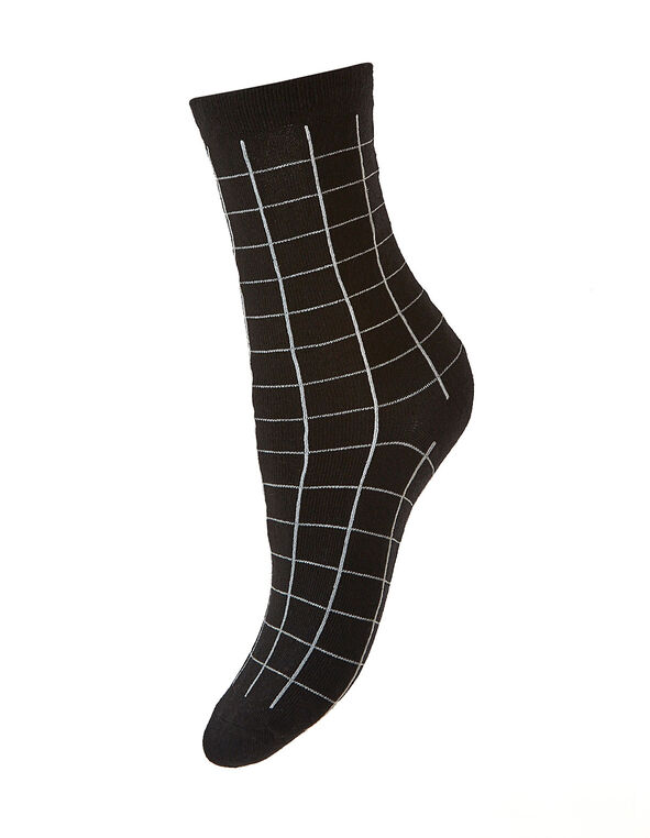 Black Windowpane Printed Crew Sock, Black, hi-res