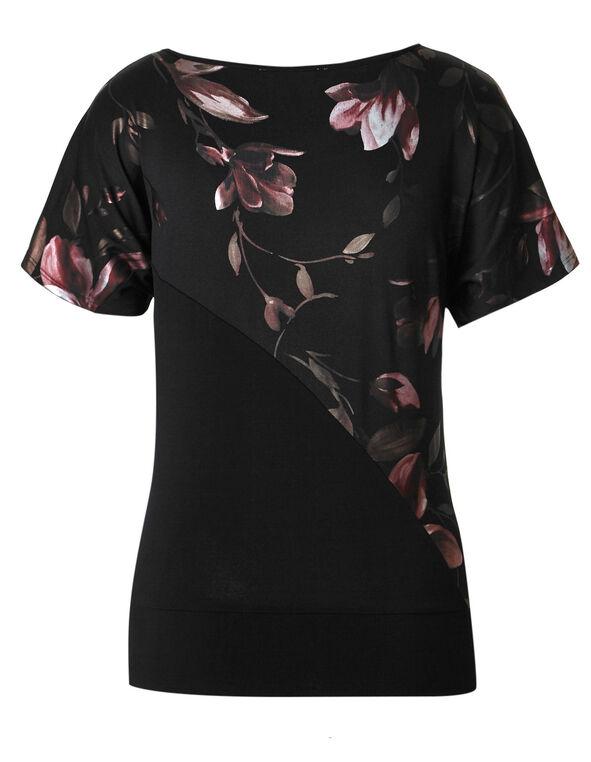 Cherry Blossom Blocked Top, Black, hi-res
