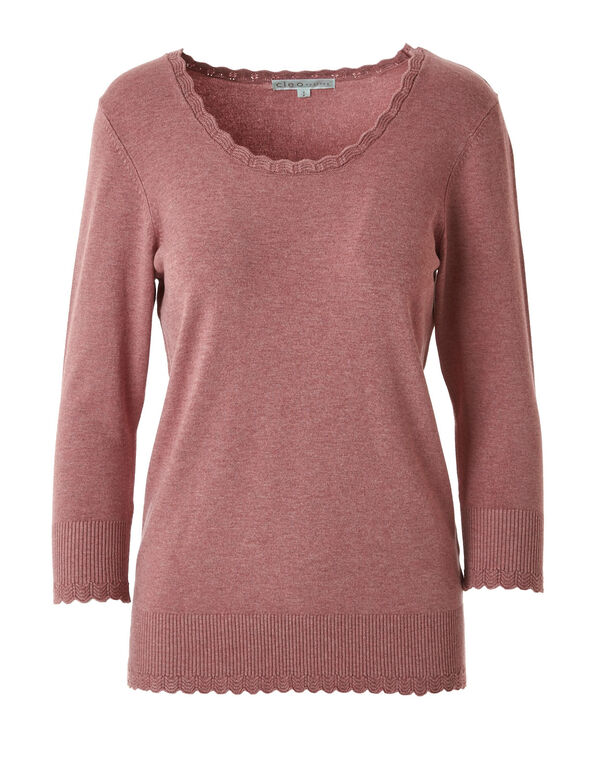 Rose Scallop Edge Sweater, Rose, hi-res