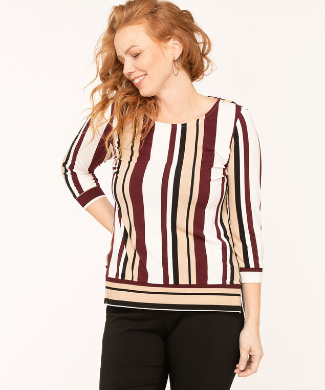Striped Scoop Neck Top, Camel/Black/Ivory/Wine, hi-res