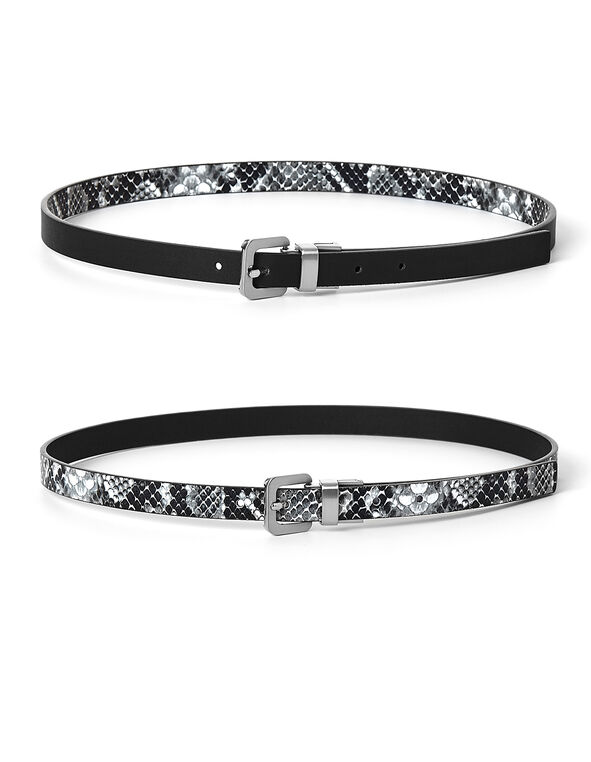 Black & Snake Reversible Belt, Black/Grey, hi-res