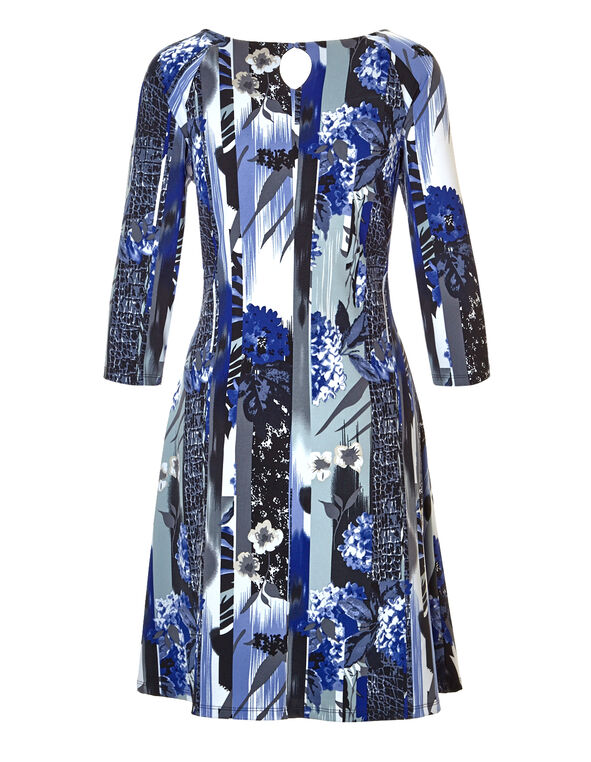 Blue Print A-Line Dress, Blue/Grey/White, hi-res