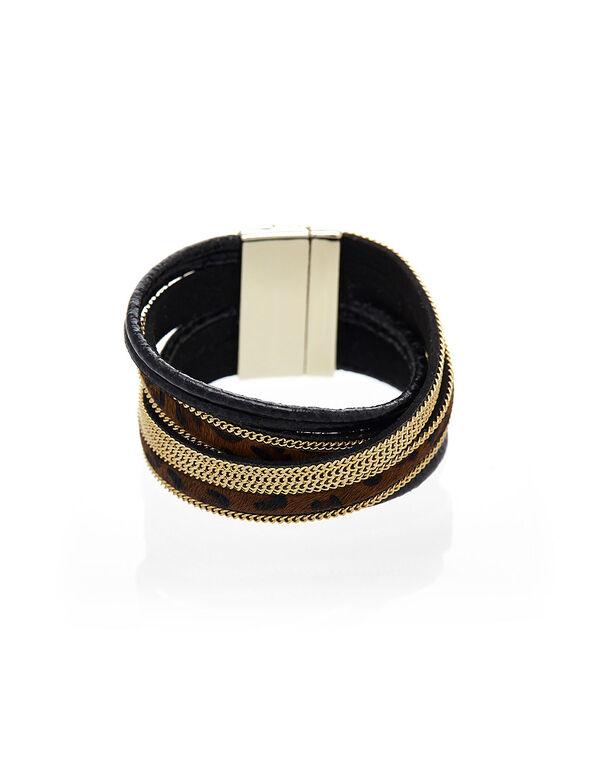 Animal Printed Wrap Bracelet, Brown, hi-res