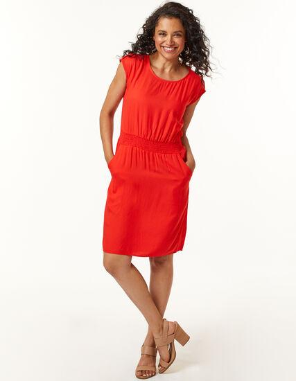 Cajun Rayon Twill Dress, Coral, hi-res