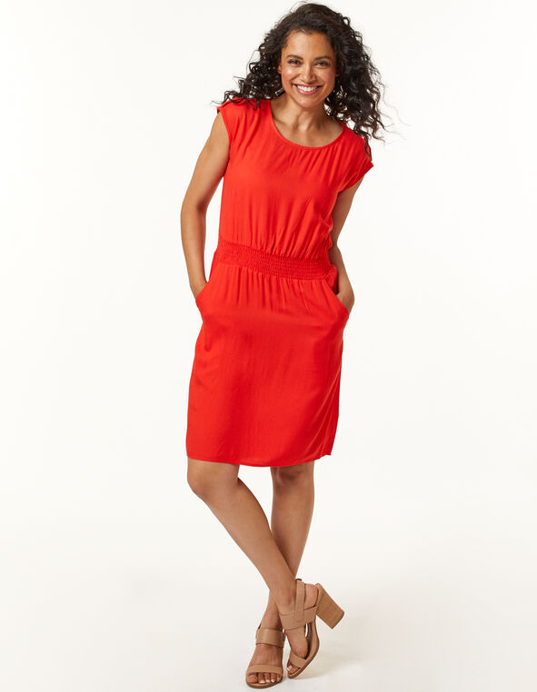 Cajun Rayon Twill Dress, Coral, hi-res