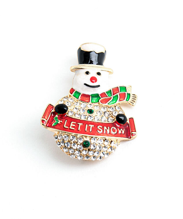 Sparkly Snowman Pin, Gold