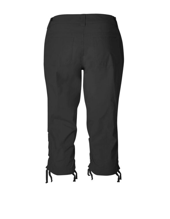Black Ruched Poplin Capri, Black, hi-res