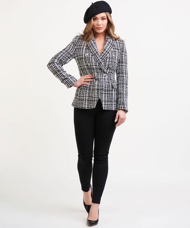 Dex Black Tape Tweed Blazer, Black/White Plaid