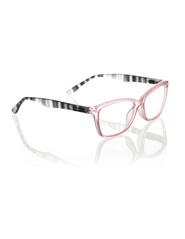 Transparent Peach Striped Arm Readers, Pink/Black, hi-res