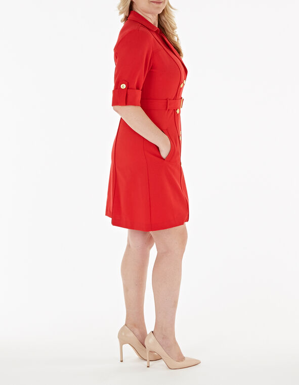 Red Trench Styled Sheath Dress, Red, hi-res