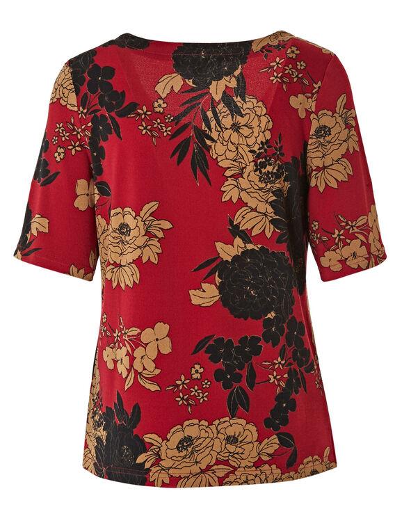 Red Floral Grommet Neckline Detail Top, Floral, hi-res