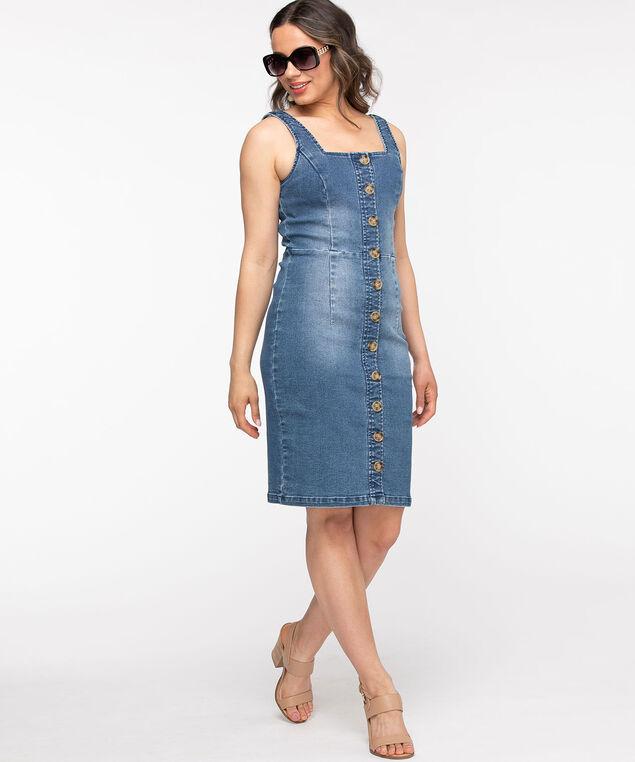 Light Wash Denim Button Front Dress, Light Wash