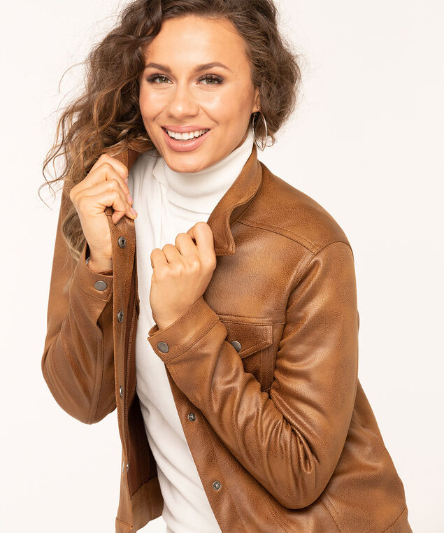 Camel Faux Leather Jean Jacket, Camel, hi-res