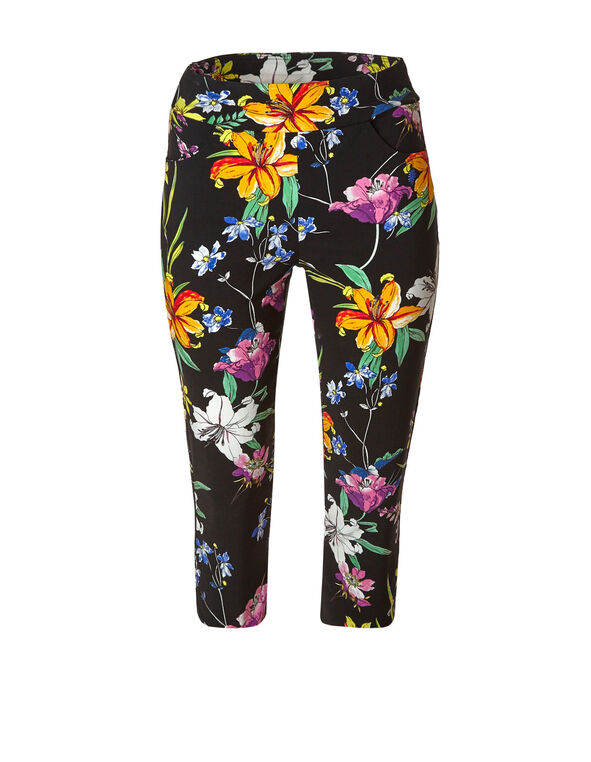 Black Floral Pull On Capri Pant, Black, hi-res