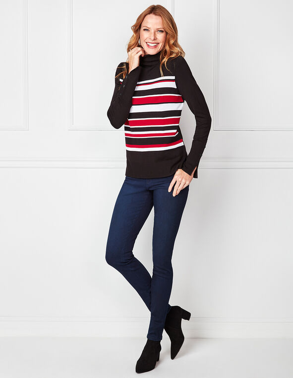 Black Striped Turtleneck Sweater, Black, hi-res