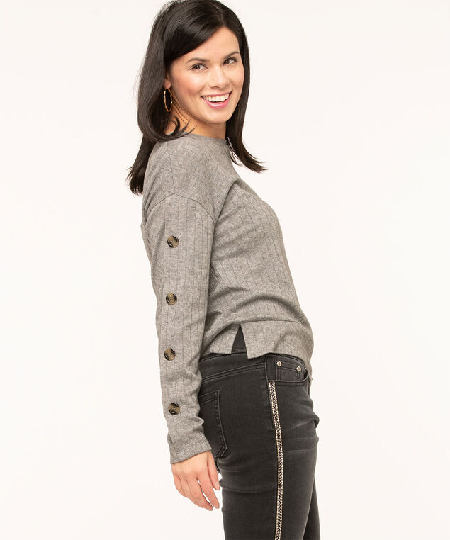 Light Grey Ribbed Knit Top, Light Grey
