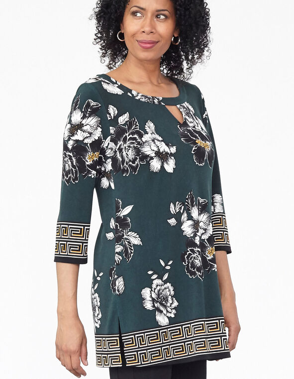 Loden Patterned Tunic Top, Green, hi-res