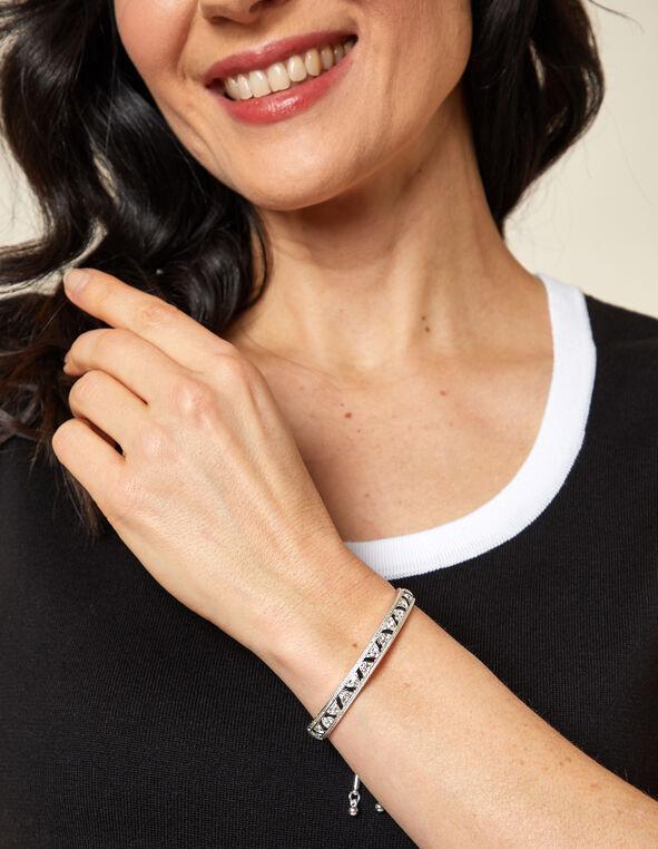 Black Accent Adjustable Bracelet, Silver/Black, hi-res