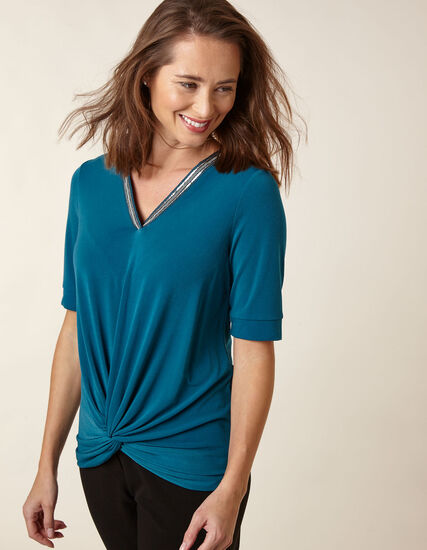 Teal Beaded Neck Top, Turquoise, hi-res