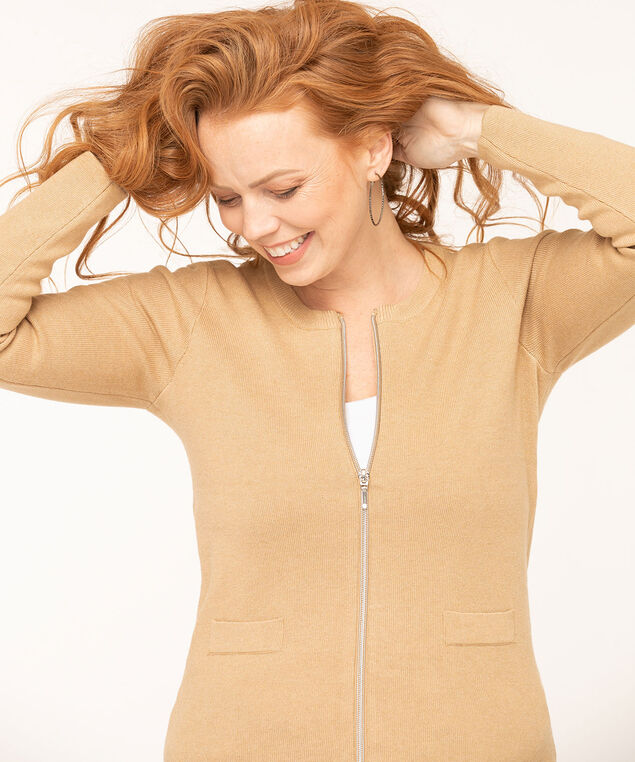 Long Sleeve Zip Front Cardigan, Camel, hi-res