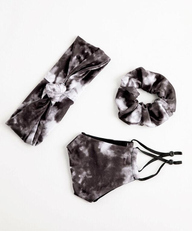 Patterned Mask & Hair Set, Black Tie-Dye