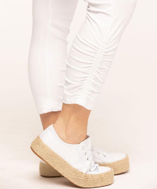 Cotton Ruched Capri Legging, White