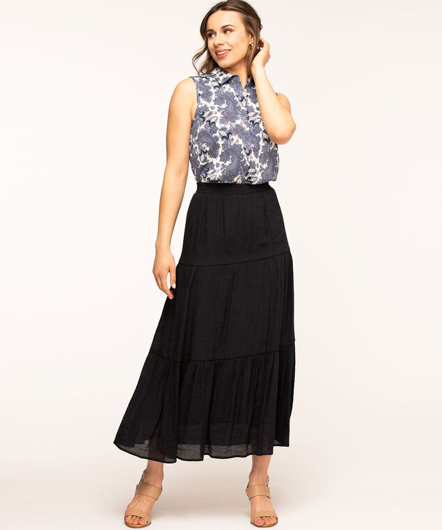 Sleeveless Collared Button Front Blouse, Navy Paisley