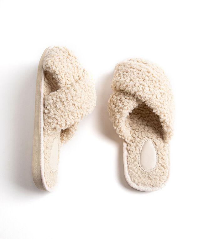 Crisscross Sherpa Slippers, Ivory