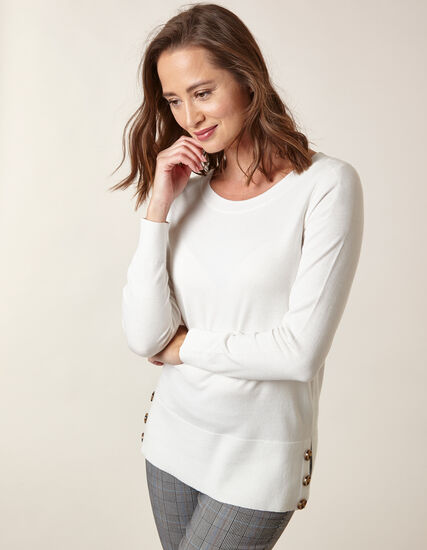Ivory Button Detail Sweater, Ivory, hi-res