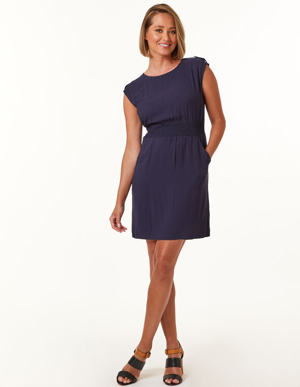 Navy Rayon Twill Dress, Navy, hi-res