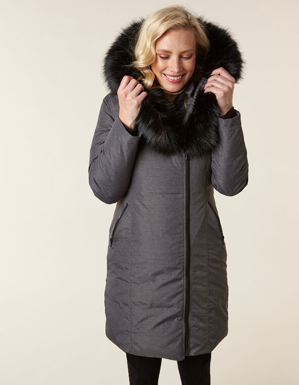 Charcoal Asymmetrical Down Coat, Charcoal, hi-res