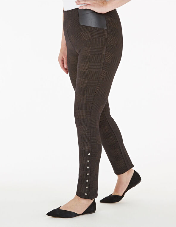 Brown Houndstooth Stud Detail Legging, Brown, hi-res