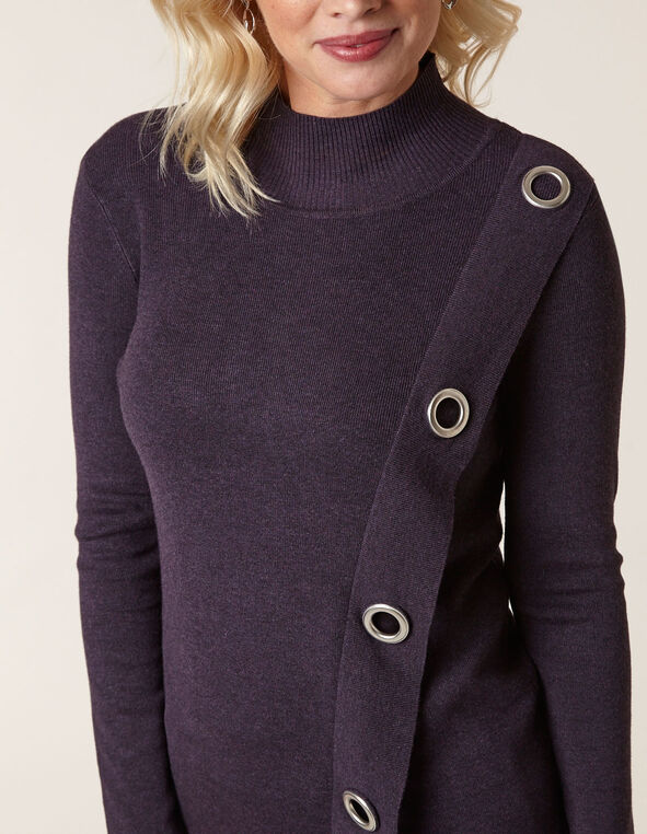 Dark Purple Wrap Styled Sweater, Purple, hi-res