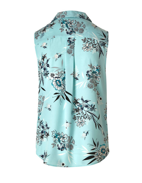Blue Button Front Sleeveless Blouse, Blue, hi-res