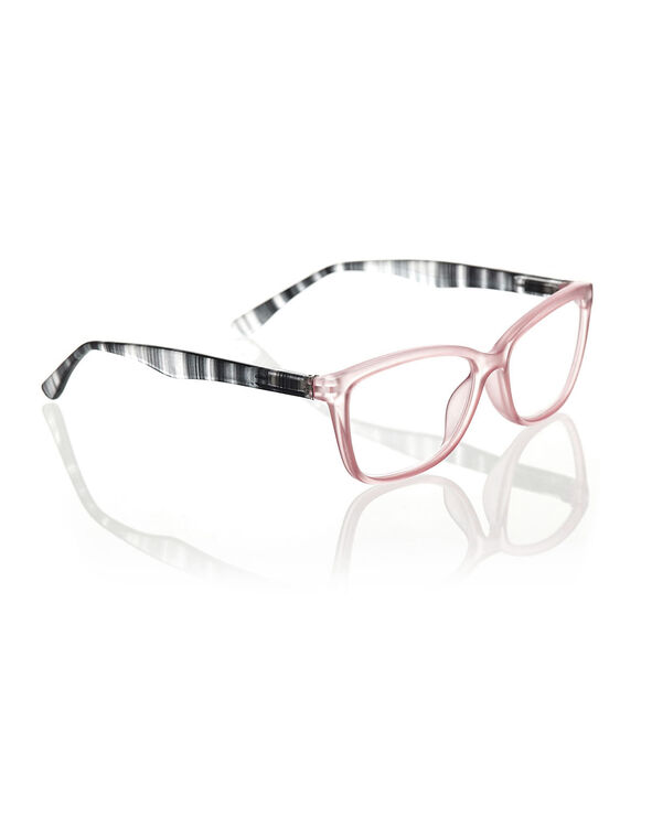 Transparent Peach Striped Arm Readers, Pink/Black, hi-res