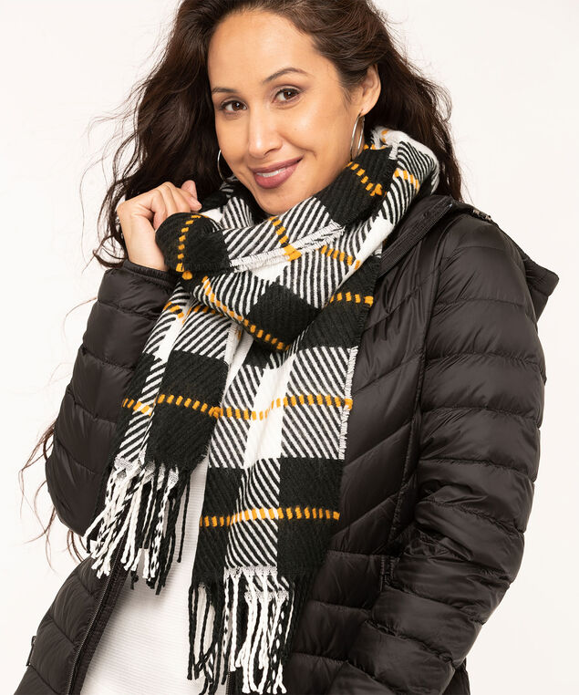 Textured Buffalo Check Scarf, Black/Gold/Ivory