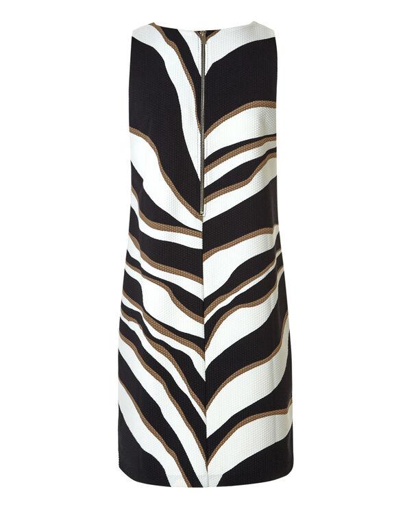 Black Print A-Line Dress, Black/Ivory/Nude, hi-res